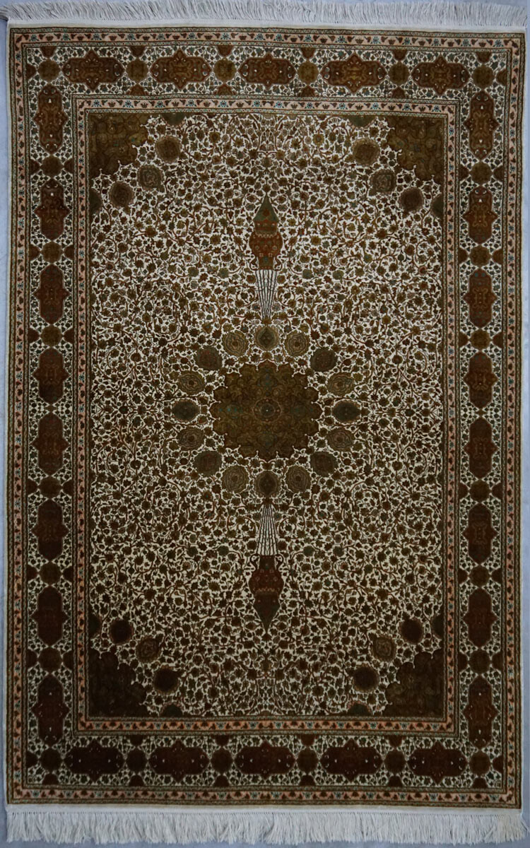 Kashmir pure silk brown-beige